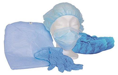 MRSA Besuchersets blau unsteril - Schutzset - Isolationskittel - Besuchersets - Infektionsschutz (Vogelgrippe, H5N8) (100 Stück)