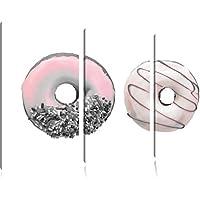 Lustrato Donuts Nero / Bianco 3 pezzi picture tela 120x80 immagine sulla tela, XXL enormi (Fragola Caffè Aromatizzato)