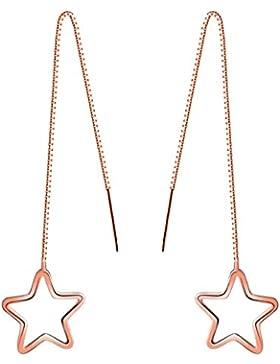 Yumilok Roségold 925 Sterling Silber Stern Durchzieher Ohrhänger Ohrringe Hypoallergen Ohrschmuck für Damen Frauen...