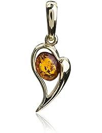 Miel Ámbar Colgante en forma de corazón de oro amarillo de 14K