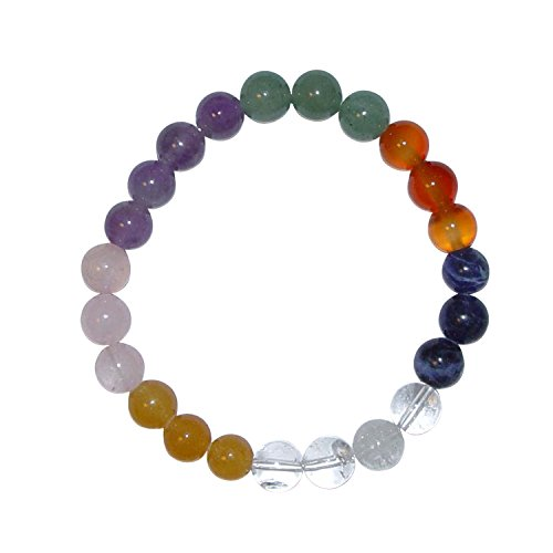 7 Chakra Multicolor Ø 6 mm Kugel Armband aus echten Edelsteinen z.B. Amethyst Bergkristall Rosenquarz u. a.(4181)