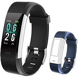 KUNGIX Montre Connectée Podomètre, Fitness Tracker d'activité Smartwatch Bracelet Moniteur de fréquence Cardiaque 0,96 Pouces Écran Couleur Etanche IP68 pour Femme Homme Enfant (Noir + Bleu)