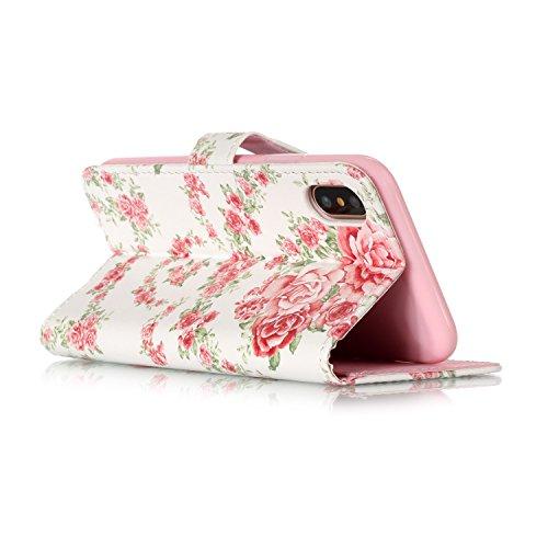 Apple iPhone 7/iPhone 8 4.7 hülle, Voguecase Kunstleder Tasche PU Schutzhülle Tasche Leder Brieftasche Hülle Case Cover (Bunt Herzen 03) + Gratis Universal Eingabestift Pink Pfingstrose