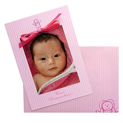 30 Geburtskarten - Pink Puppet - rosa mit kleiner Puppe und Satinband - Babykarten Geburtsanzeige-Set - zum einfachen Selbstbedrucken