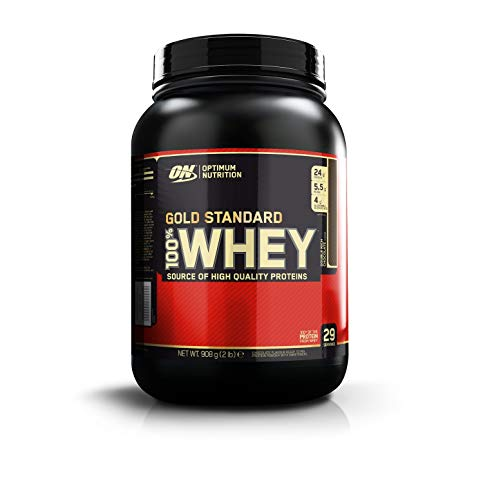 Optimum Nutrition Gold Standard Whey Protein Pulver (mit Glutamin und Aminosäuren. Eiweisspulver von ON) Double Rich Chocolate, 29 Portionen, 0,9kg - Mann Gnc
