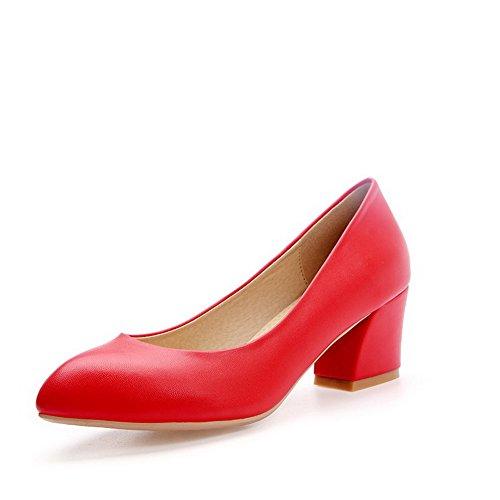 VogueZone009 Femme Pu Cuir Couleur Unie Tire Pointu à Talon Correct Chaussures Légeres Rouge