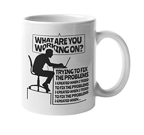 LESKETH What Are You Working On? Trying To Fix A Problem. Funny Codes Coffee & Tea Gift Mug For Programmers, Coders, Software Engineers, IT Professional, Students, Women and Men (11oz)