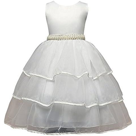Moollyfox Pizzo Bowknot Perla Cintura Senza Maniche Garza Principessa Partito Ragazze Bambini Vestito Bianco 130CM