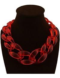 DELEY Mujer Simple de Acrílico Collar Grueso Gargantilla de Clúster Babero Declaración Collar de Cadena