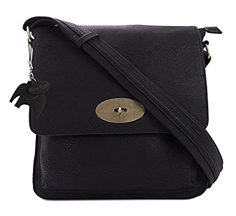 Big Handbag Shop Faux Leather Medium Twist Lock Cross Body Messenger Bag (D1001 Black)