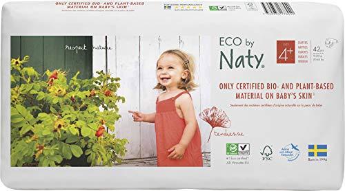Eco by Naty Premium Bio-Windeln für empfindliche Haut, Größe 4+, 9-20 Kg, 2 Packungen à 42 Stück (84 Stück insgesamt), weiß