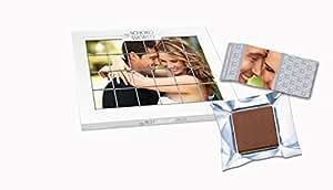 my SCHOKO WORLD - personalisiertes Schokoladen-Puzzle aus 24 Schokoladentäfelchen für die Liebste oder den Liebsten mit eigenen Fotos zu gestalten aus feinster belgischer Schokolade, 108 g in edler Geschenkbox