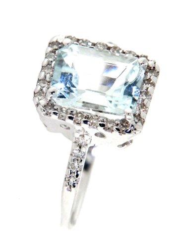 Mia Gioielli - anillo azul , 18 quilates anillo de compromiso de oro blanco con aguamarina 2,9 kt y diamantes 0.41 cts G / VS, Talla 16 , F-08192 - 0B01