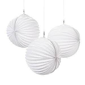 cama24com Papierlaterne Laterne Lampion wei/ß 21cm Durchmesser 12 St/ück Palandi/®