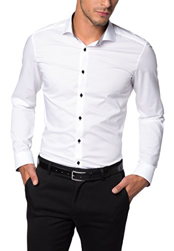 ETERNA Langarm Hemd SUPER-SLIM Stretch unifarben Weiß
