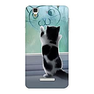 Stylish Cute Kitty Face Print Back Case Cover for YU Yureka Plus