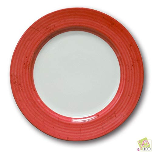 Lot de 6 assiettes plates Prestige Rouge D 31 cm