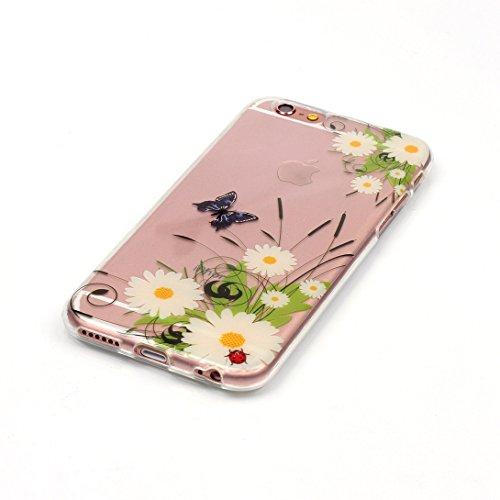 Pheant® Apple iPhone 7 (4.7 pouces) Coque TPU Gel Étui Housse de Protection Transparent Cas(Fleur de Pêche) Tour Eiffel
