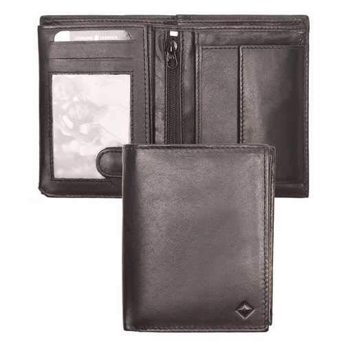 Portafoglio uomo SG ZERO Extra vera pelle di pecora nero - Porta carte credito 12 scomparti per tessere con portamonete interno e cerniera nera