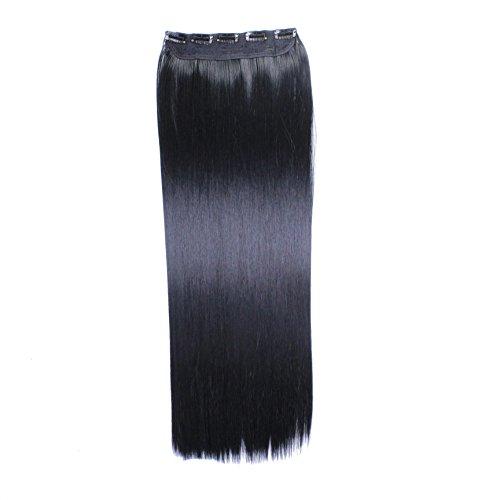 Clip In Extensions, 60cm - #N-1 Schwarz, glatt - 130g Haarteil Optisch wie Echthaar