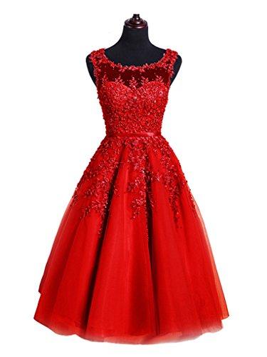 Beauty-Emily Hochzeitskleider Junge Damen Vintage Midi Günstig Mit ärmellos O Ausschnitt Tüll mit...