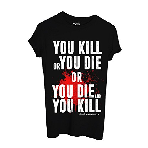 T-Shirt KILL OR DIE BLOOD - THE WALKING DEAD - FILM by iMage Dress Your Style - Donna-M-NERA