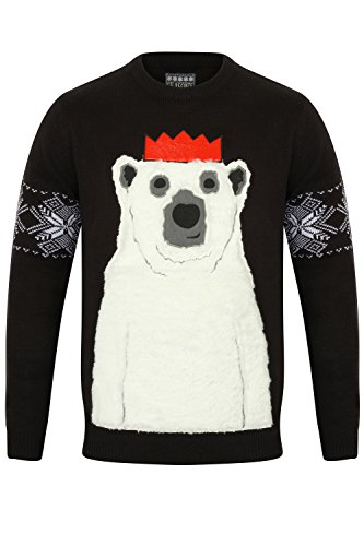 Herren Weihnachts/Xmas Pullover von Seasons Greetings Polar Bear - Dark Navy