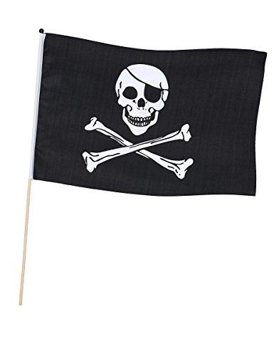 BOLAND Fahne auf Stock Pirat (45 x 30 cm) Piratenflagge