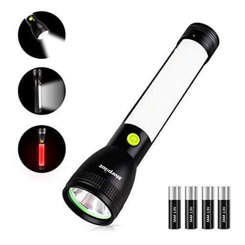 2 In 1 LED Taschenlampe, Morpilot 7 Modi Handlampe, als Notlicht, mit Arbeitsleuchte| Stableuchte| Werkstattleuchte, 450lm, Magnetischer Fuß, IPX4 Wasserdicht, für Auto Untersuchung, Wandern, Hurricane, Camping, Notfall (inkl. 4* AAA Batterie)