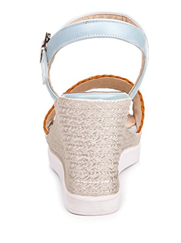 UH Femmes Sandales Bride Cheville à Talons Moyen Compensé pour Dété avec Plateforme et Bandage Tressé Confortables Bleu