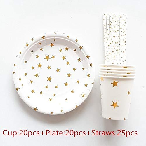 65 Stücke Goldfolie Rot Einweggeschirr Weihnachten Neujahr Party Pappteller Cups Geburtstag Party Supplies Kunststoff Strohhalme, Gold Star (Kunststoff Gold Cups)