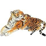 Plüschtier Tiger mit Baby - liegend - braun - 85 cm