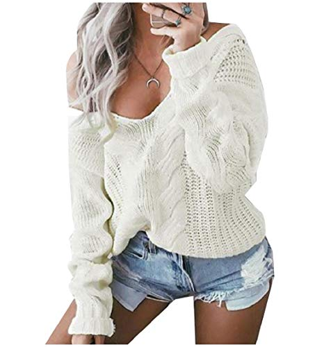 3/4 Sleeve Wool Pullover (CuteRose Women's Knitted Solid Stitch Long Sleeve Deep-V Neck Knitwear White XS)