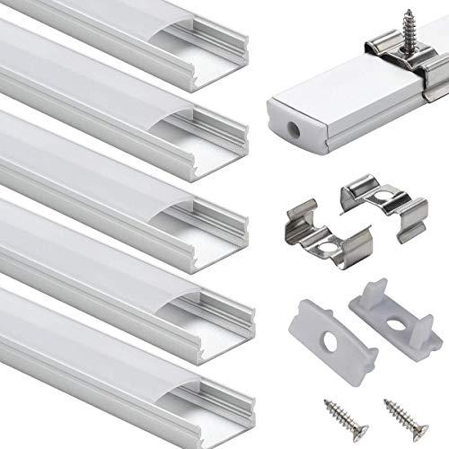 StarlandLed LED Aluminium Profile 6er Pack LED U Profil 6x100cm Endkappen, Abdeckung Opal für LED Streifen & LED Bänder LED Eckprofil - Led-aluminium-montage-kanal