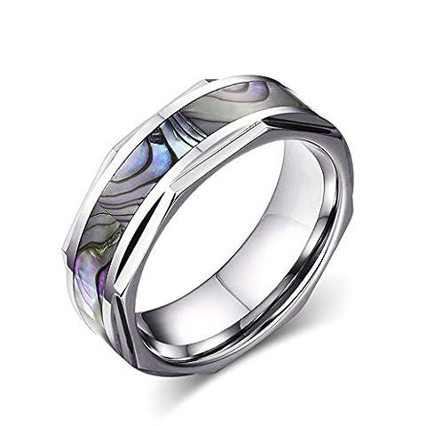 Bishilin 8MM Abalone Shell Inlay Engagement Wedding Band Rings