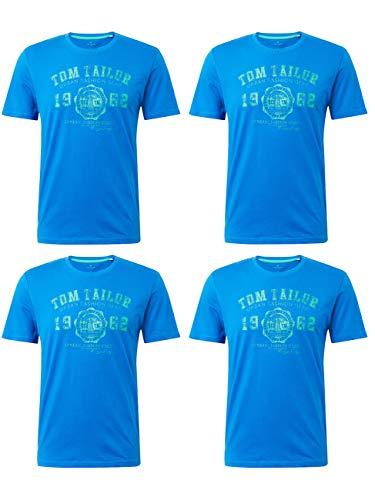 TOM TAILOR 4er Pack Herren Rundhals T-Shirt Logo Tee Basic, Größe:XL, Farbe:4X Simply Blue - 4x T-shirt
