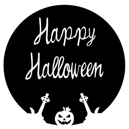 Wadeco Happy Halloween Kreis Wandtattoo Wandsticker Wandaufkleber 35 Farben verschiedene Größen, 120cm x 120cm, grün (Happy Halloween N)