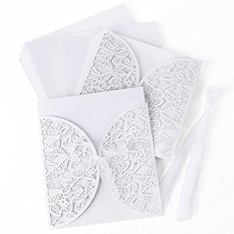 10 x Einladungskarten Schmetterling Spitze Design Umschlag Hochzeit Party Einladung