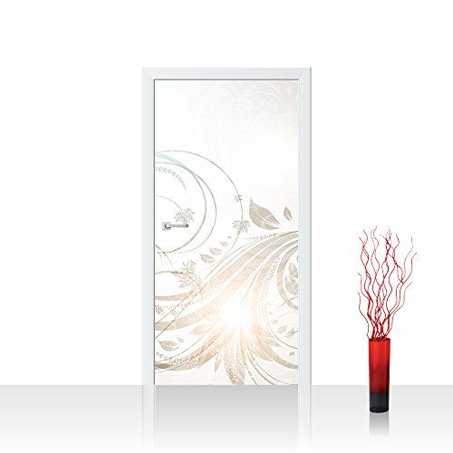 Türtapete selbstklebend 100x211 cm PREMIUM PLUS Tür Fototapete Türposter Türpanel Foto Tapete Bild - FLORAL ORNAMENTS - Ornamente Blumen Beige Creme Anstrakt Blumenranke Blumendeko - no. 101