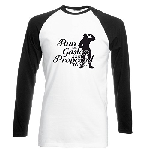 Brand88 - Run Like Gaston Just Proposed To You, Langarm Baseball T-Shirt Weiss & Schwarz