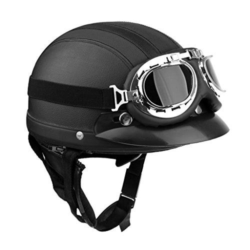 Motorrad Herren Jet Helm Fahrradhelm mit Visier UV-Schutzbrillen Retro Vintage-Stil - Schwarz