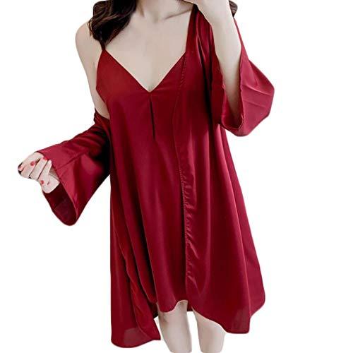 Ziyou Frauen Pyjamas Sexy Unterwäsche V-Kragen Robe Dessous Sling Nachthemd Nachtwäsche(XL, Wein) -