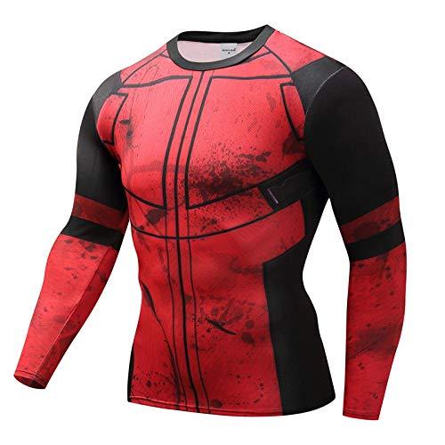 H&m Kostüm Spiderman - JUFENG Langarm Spiderman 3D Gedruckt T Shirts Männer Compression Shirts 2018 Tops Für Männer Cosplay Kostüm Kleidung,H-M