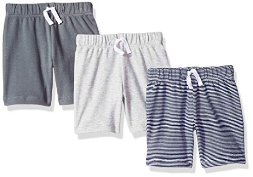 Amazon Essentials 3-Pack Pull-On infant-and-toddler-shorts, Grey/Black Stripe, Preemie - Preemie Kleidung