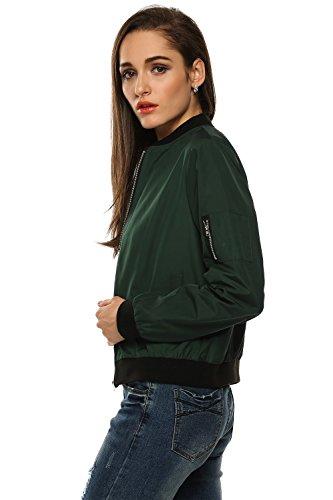 Minetom Femmes Hiver Blouson Courte Cuir Veste Bombardier Manteau Biker Jacket Vert