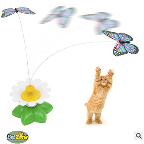 Elektrische Rotierende Spielzeug Katze Interaktive Teaser Katzenspielzeug mit Stahldraht HKFV Elektrischer Drehsitz-Schmetterlings-lustiges Katzen-Haustier-Spielzeug-Katzen-Kätzchen