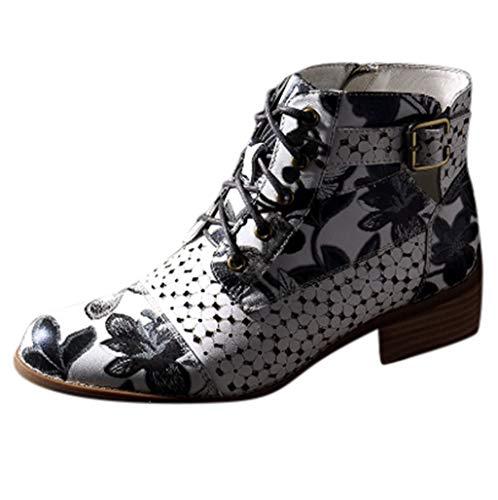 COZOCO Damen Tinte Malerei Blume Muster Nähen Stiefeletten Imitation Leder Splicing Schnürsenkel kurzen Stiefel(Grau,39