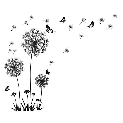 sourcingmap®-Dandelion Farfalla Pattern casa rimovibile Wall Sticker Decor