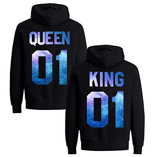 Daisy for U Pärchen Hoodie Set King Queen Pullover 1 Stücke Queen-Schwarz-Blau-M(Damen)