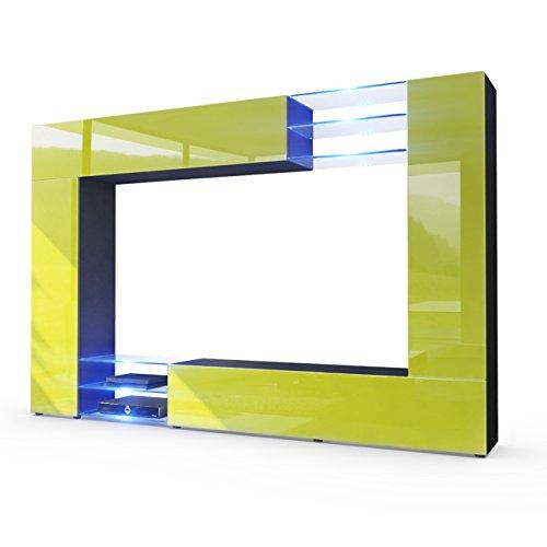 Wohnwand Limette Hochglanz, Korpus in Schwarz matt / Fronten in Limette Hochglanz inkl. LED Beleuchtung